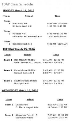 TDAP Schedule