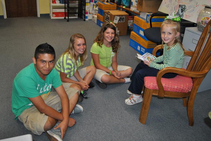 Morningside Elementary kindergartner reads to fifth graders