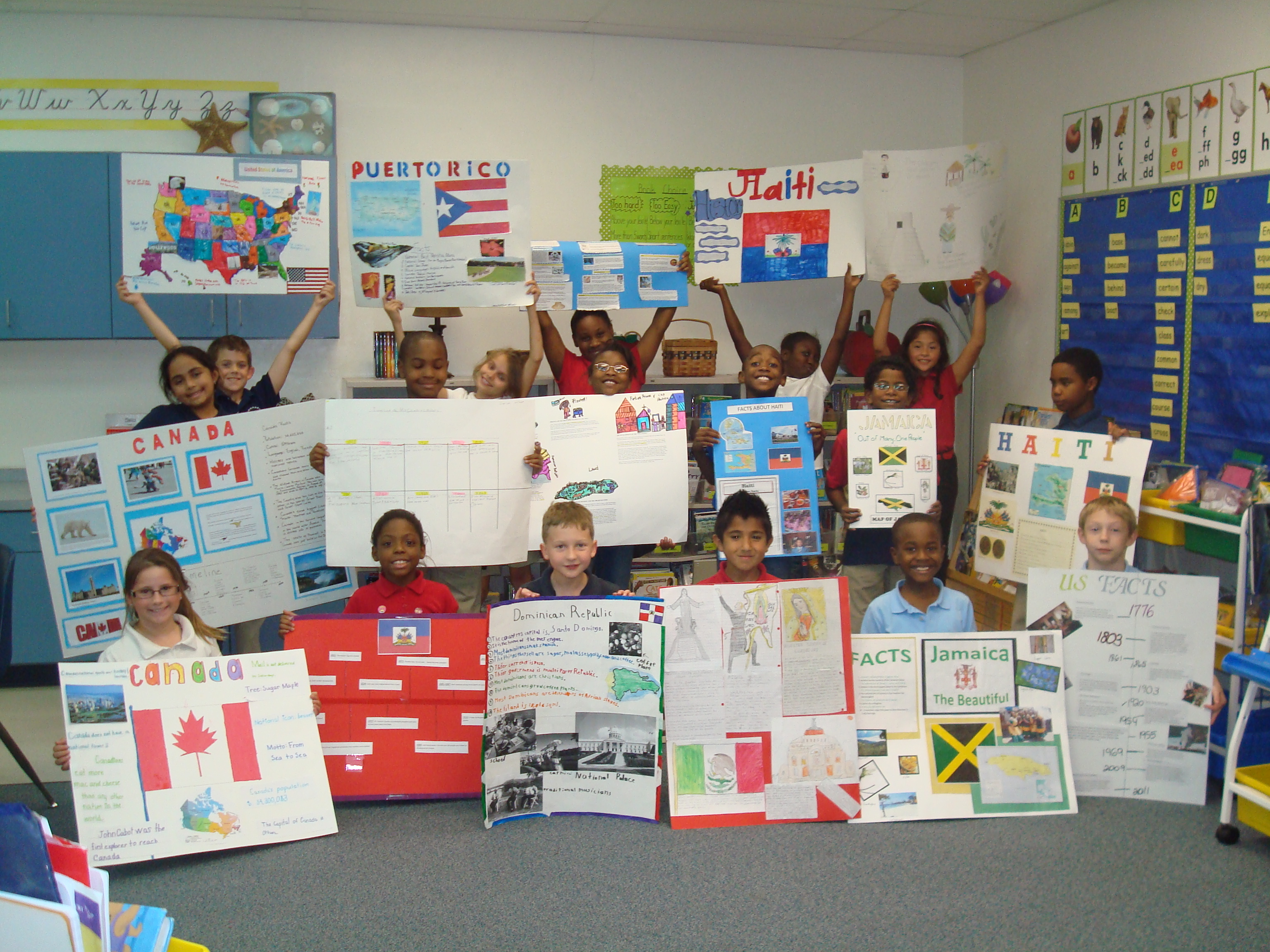 F. K. Sweet third graders explore North America