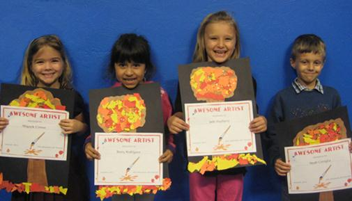 Mariposa Elementary kindergartners show seasons in art