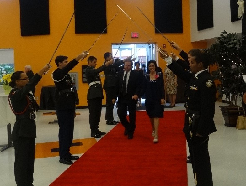 ROTC cadets perform saber guard for Night of the Stars
