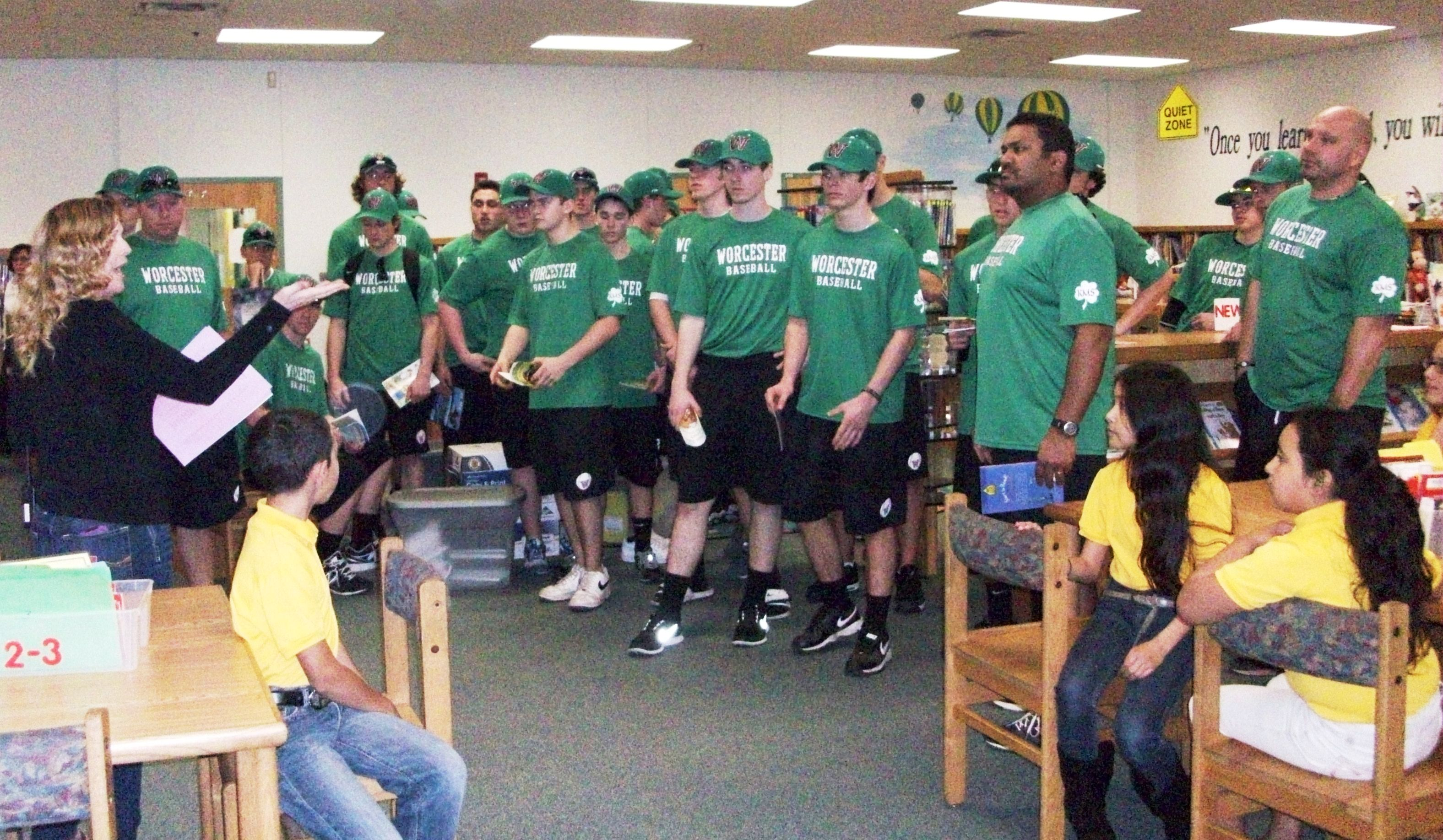Visiting baseball team inspires C. A. Moore students