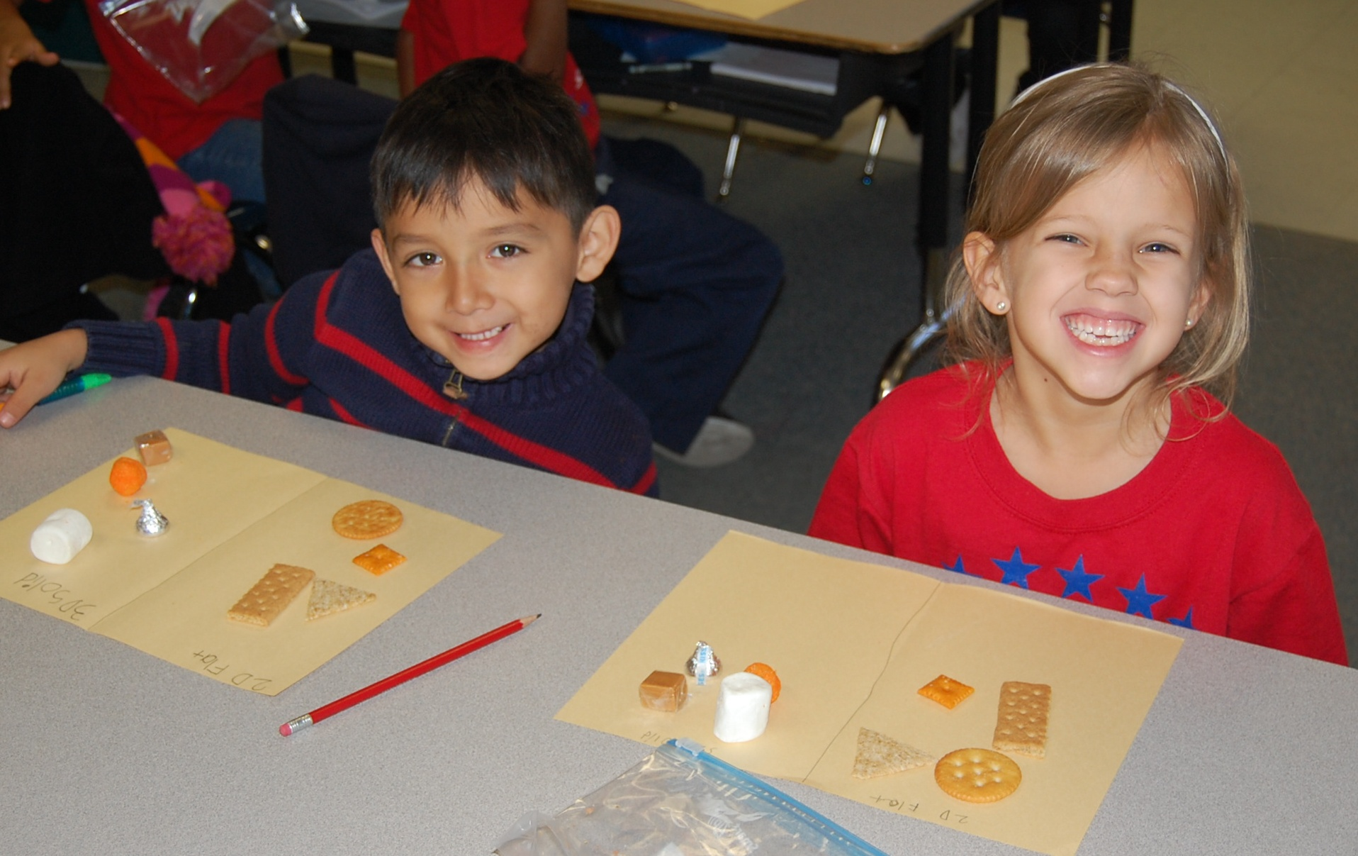 F. K. Sweet kindergartners sort shapes