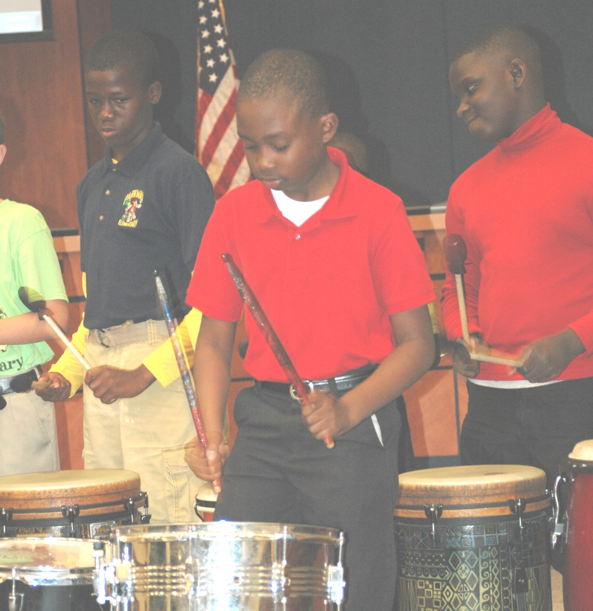 Parkway Elementary drummers present original rhythm at school board meeting
