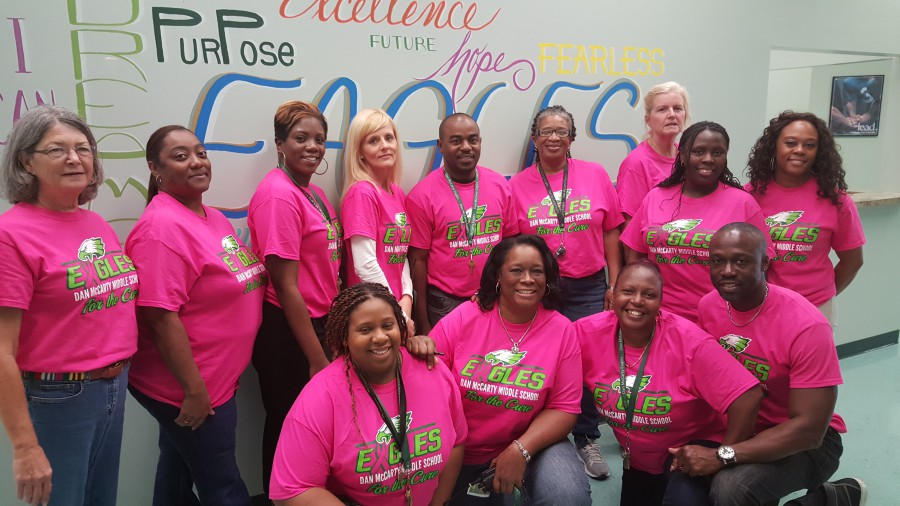 Dan McCarty Faculty Members are Eagle Proud in Pink