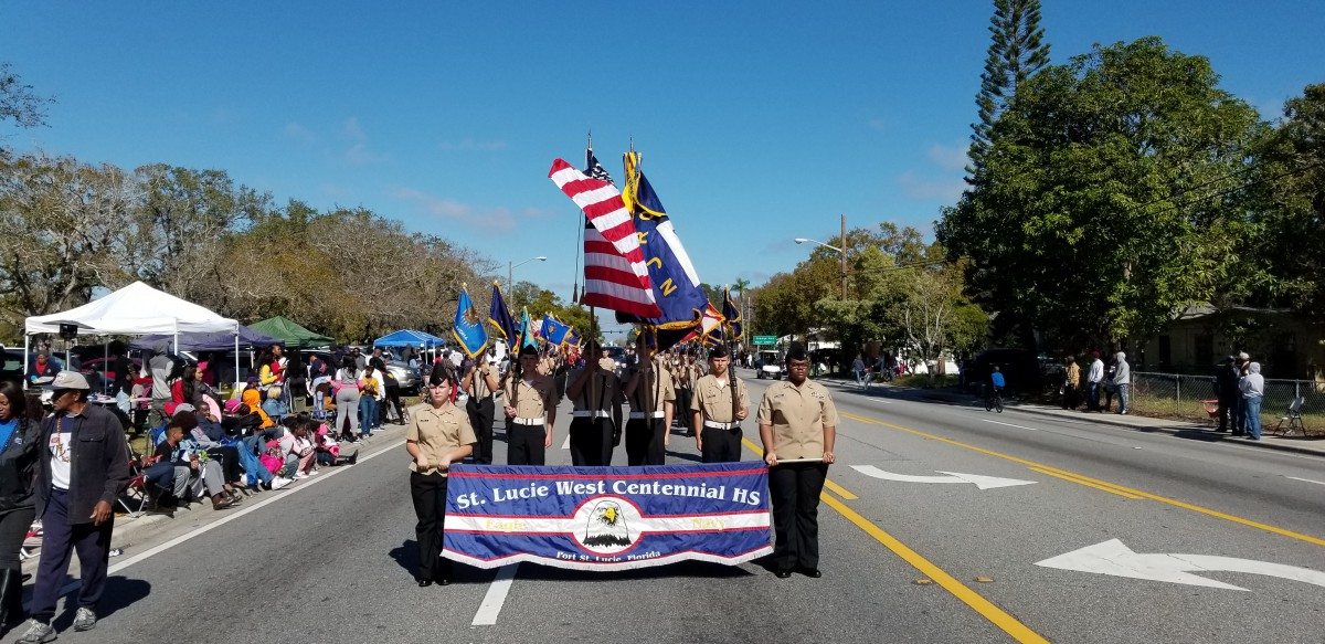 SLW Centennial NAVY JROTC Participates in the St. Lucie County MLK Parade