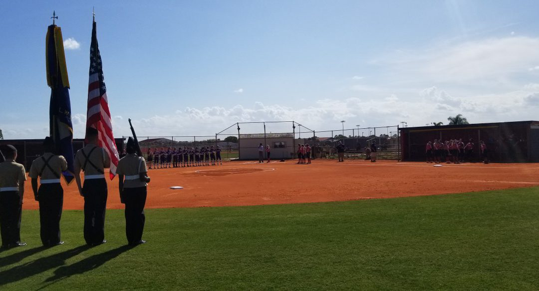 SLW Centennial HS Navy JROTC Provides Color Guard for Softball Game
